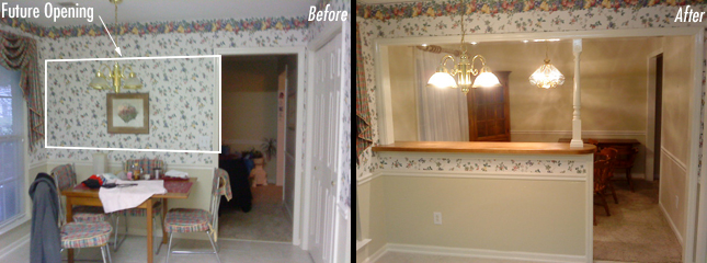 Kitchen Remodel Before And After Wall Removal inspired remodeling & tile | bloomington, indiana & surrounding