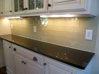installation contractor upscale glass subway tile backsplash
