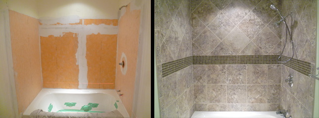 I  Inspired Remodeling   Tile   Bloomington  Indiana   Surrounding  . Tile Around Tub Shower Combo. Home Design Ideas